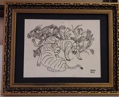Kádár Béla: Tigrisek  (tusrajz)