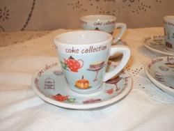 Kávéskészlet - porcelán - bájos mintával 11 db  - 1 csésze hiányzik! csésze 1,5 dl