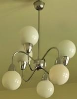 Retró loft design krómozott csillár 60-as évek felújítva 6 karos üveg búrával.