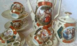 Szép régi Altwien kávéskészlet, 4 személyes