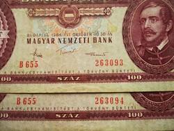 SZÁMKÖVETŐ 100 FORINTOSOK - aUNC - 1984