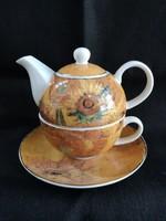 Van Gogh: Napraforgók 1 személyes porcelán tea szett, Goebel porcelán, hibátlan, új