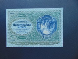100000 korona 1922 Ritka nagy méretű bankjegy !!!