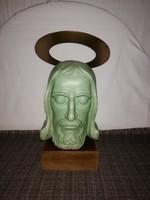 1,-Ft Brutál ritka Art-deco Jézus kerámia fej!