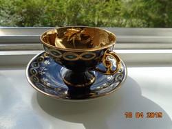 ALT WIEN kobalt-arany számozott talpas kávés csésze alátéttel