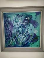 Sebestyén János festmény - Indián türkiz árnyalatban, 40*40