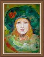Pipacsos zöld barett  - Magony Henriett festmény