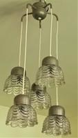 Retró loft design t csillár 60-as évek 5 karos üveg búrával. MŰKÖDIK !! Tartalék búrákkal
