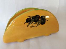 Olivás kerámia szalvétatartó