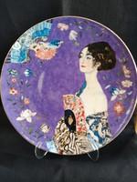 """Gyönyörű, hatalmas Gustav Klimt: """"Hölgy legyezővel"""" limitált porcelán falitányér Goebel, hibátlan"""