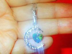 Szivárvány Topáz Félhold csillag Szív 925 ezüst- Fehérarany Nyaklánc