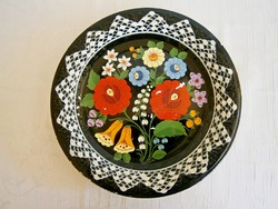 Nagyon régi kézzel festett Gránit kerámia falitál, tányér 24 cm átmérő