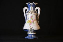 Royal Dux barokk váza - kézzel aranyozott, virágmintás kisváza