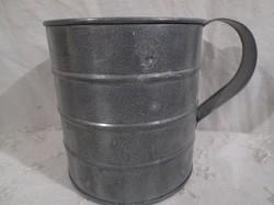 Kaspó - bádog bögre - 12 x 11 cm + 4 cm fül - hibátlan