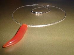 Karneol ezüst - fehérarany b. Uniszex nyaklánc