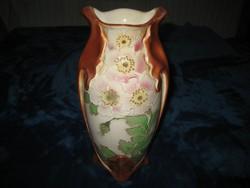 Francia , gyönyörű , majolika  váza , visszafogott színekkel   a szecesszió korából  13 x 28  cm !!