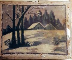 Antik gobelin ( téli a tanyán ) Keretezni tisztítani szükséges.