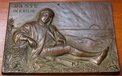 Dante bronz plakett,Domenico Peterlini festménye alapján.