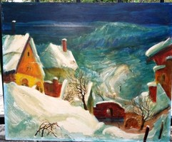 Kéri Imre: : Hóvihar a faluban .Olaj,farost jelzett. 50x60 cm