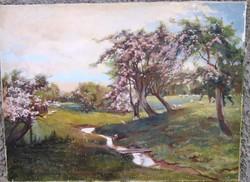 Régebbi oljfestmény, tájkép, jelzett, keretnélkül. Hordozó vászon, 71 x 60,5 cm.