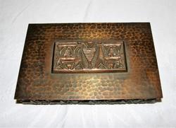 Retro Iparművészeti bronz doboz jelzett Jónás L.