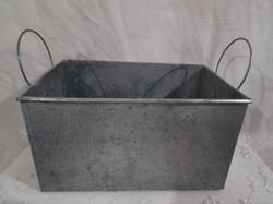 Kaspó - bádog - 17 x 11 x 9 cm - hibátlan