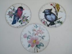 Kézzel festett régi kerek felakasztható üveglapok, díszek 3 db