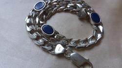 Lapisz lazuli ezüst Panzer lánc.Karkötő