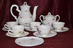 Barokkos, szórt virágos Zsolnay kávés készlet  ( DBZ 00114 )