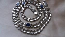 Lapisz lazuli ezüst ékszer  Panzer lánc.