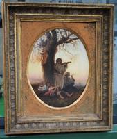 Fritz van der Venne (1873 - 1936) - Szieszta a fa alatt....Olajfestmény, eredeti, szignált!