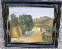 Régebbi oljfestmény, tájkép, jelzett, enyhén hibás, vászon, 59 x 50,5, 48 x 40 cm.