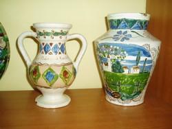 2 db népi cserép dísz váza, Nagybánya