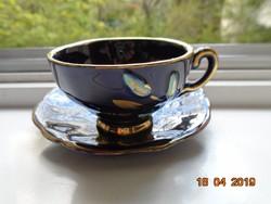 """Újszerű kézzel festett kobalt-arany dombor virág mintás kávés csésze """"Echt Kobalt"""" jelzéssel"""