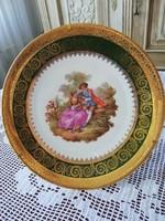 Limoges romantikus dísztányér, barokk jelenetes, kézzel festett, hibátlan aranyozással