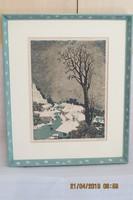 Török Endre (1926-1980): Tél, litográfia, méret: 25*34 cm