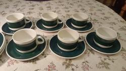 Villeroy és Boch Septfontaines kávéskészlet, luxemburgi, régi pecsétes, sötétzöld-fehér