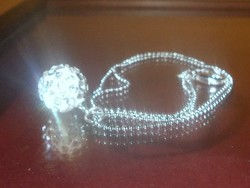Shamballa Gömb Gyöngyös 925 ezüst - Fehérarany Nyaklánc