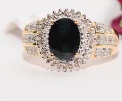 3 ct.Gyémánt zafírral  14 karátos arany ékszer  .ÚJ