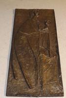 Régi bronz falikép jelenetes