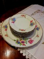 6 személyes Hollóházi süteményes készlet, vitrin állapotban
