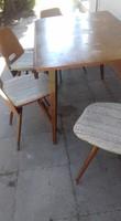 Csehszlovák Tatra Nabytok  retro, modernista, mid-century étkező, asztal négy székkel