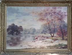 Alföldi folyónál ruhát mosó asszonyokkal. Impresszionisztikusan megfestett 75x100 cm