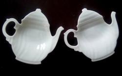 Hollóházi fehér tea filtertartók párban