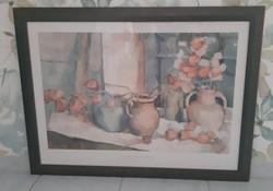 Csendélet, Sarah Sparkman kép, akvarell festmény