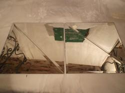 Üveg - ÚJ - 4 db  tükörcsempe  bronz színű - csiszolt - 30 x 30 x 21.2 cm - sarkán kicsi lepattanás