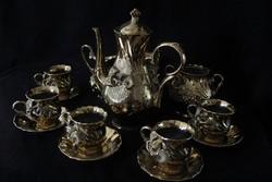 Aranyozott román porcelán kávéskészlet