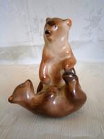 Nagyon ritka Bodrogkeresztúri kerámia játszó macik, birkózó medve pár, gyönyörű állapotban