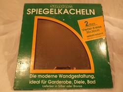 Üveg - ÚJ - NAGY - bronz színű tükörcsempe  2 db egy garnitúra ára 1700 Ft  - 30 x 30 cm hibátlan
