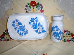 Eredeti Kalocsai porcelán kínáló tál, tálca és váza különleges kék festéssel